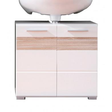 Meuble sous-vasque 2 portes coloris blanc et chêne San Remo  L. 60 x P. 34 x H. 56 cm collection Martham
