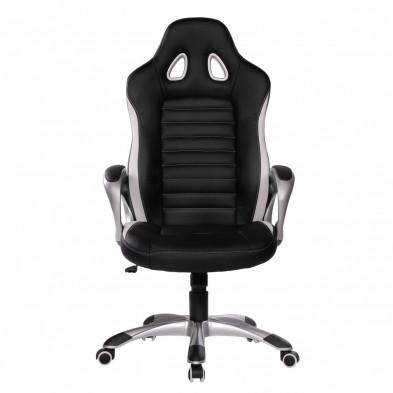 Chaise et fauteuil de bureau noir design en pvc L. 56 x P. 62 x H. 122 - 130 cm collection Vansplunter
