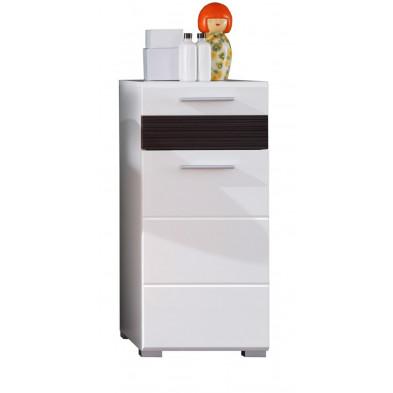 Armoire de rangement pour salle de bain 1 porte et 1 tiroir coloris blanc et chêne Melinga gris L. 37 x P. 31 x H. 79 cm collection Martham
