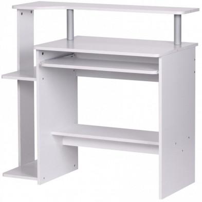Bureau blanc design en panneau de particules agglomérées L. 90 x P. 48 x H. 94 cm collection Lithonia