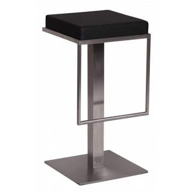 Tabouret de bar noir design en PVC  L. 38 x P. 38 x H. 76 cm collection Clocks