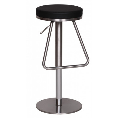 Tabouret de bar noir design en PVC  L. 39 x P. 39 x H. 54 - 81 cm collection Hibing
