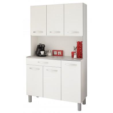 Buffet & vaisselier moderne blanc en panneaux de particules mélaminés de haute qualité L. 101 x P. 40 x H. 185 cm Collection  Belsele