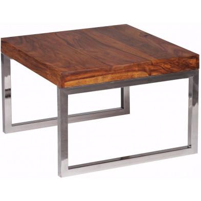 Table d'appoint marron contemporain en bois massif L. 60 x P. 60 x H. 40 cm collection Neudenau