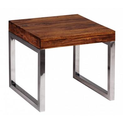Table d'appoint marron contemporain en bois massif L. 45 x P. 45 x H. 40 cm collection Neudenau