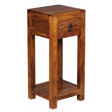 Table d'appoint marron contemporain en bois massif L. 30 x P. 30 x H. 68 cm collection Fluttering