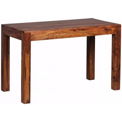 Table en bois marron rustique en bois massif L. 120 x P. 60 x H. 76 cm collection Fluttering