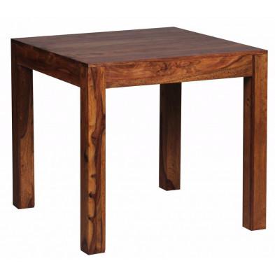 Table en bois marron rustique en bois massif L. 80 x P. 80 x H. 76 cm collection Fluttering