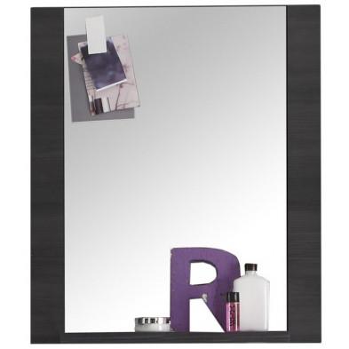 Miroir mural pour salle de bain avec 1 tablette design frêne gris en panneaux de particules de haute qualité L. 60 x P. 20 x H. 70 cm collection Brawny