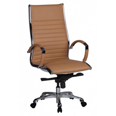 Chaise et fauteuil de bureau marron design en pvc L. 60 x P. 60 x H. 112 - 122 cm collection Boorsem