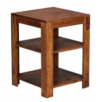 Meuble étagère marron contemporain en bois massif L. 44 x P. 44 x H. 60 cm collection Aller