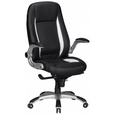 Chaise et fauteuil de bureau noir design en pvc 1 place L. 58 x P. 72 x H. 122 - 128 cm collection Fenton