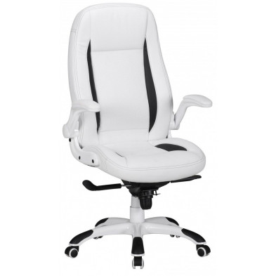 Chaise et fauteuil de bureau blanc design en pvc L. 72 x P. 58 x H. 122 - 128 cm collection Fenton
