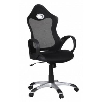 Chaise et fauteuil de bureau noir design en tissu 1 place L. 50 x P. 49 x H. 110 - 122 cm collection Sobral