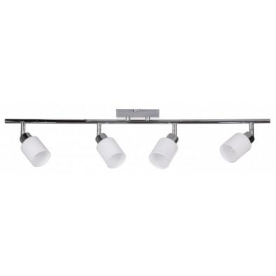 Suspension blanc design en acier chromé L. 32 x P. 6 x H. 13 cm collection Koorn