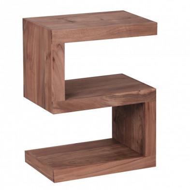 Table d'appoint marron contemporain en bois massif L. 44 x P. 30 x H. 59 cm collection Army