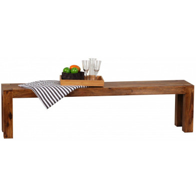 Bancs & banquettes de salle à manger marron contemporain en bois massif L. 180 x P. 35 x H. 45 cm collection Vlekkem