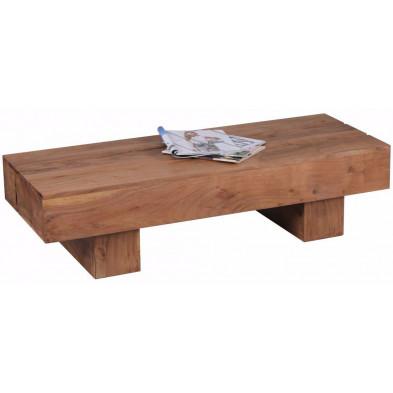 Table basse en bois marron contemporain en bois massif L. 120 x P. 45 x H. 30 cm collection Army