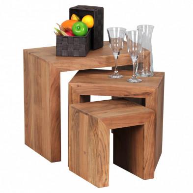 Lot de 3 Table d'appoint marron contemporain en bois massif L. 45 x P. 30 x H. 50 cm collection Army