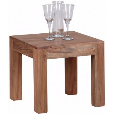Table basse en bois marron contemporain en bois massif  L. 45 x P. 45 x H. 40 cm collection Army