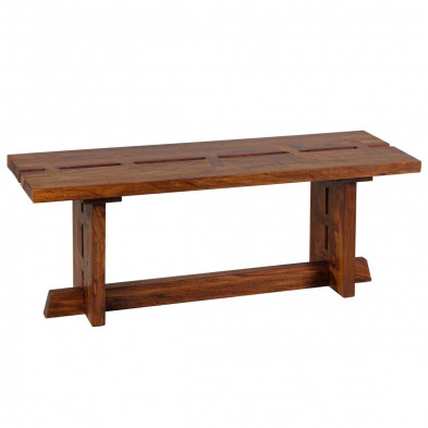 Bancs & banquettes de salle à manger marron contemporain en bois massif L. 118 x P. 40 x H. 45 cm collection Borgnano