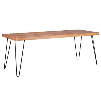 Table en bois marron rustique en acier L. 200 x P. 80 x H. 76 cm collection Army