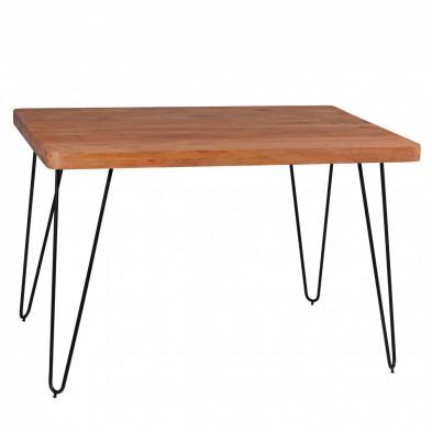 Table en bois marron rustique en bois massif L. 120 x P. 80 x H. 76 cm collection Army