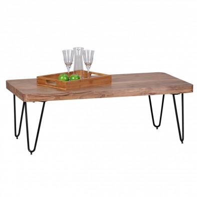 Table basse en bois marron contemporain en bois massif L. 115 x P. 60 x H. 40 cm collection Army