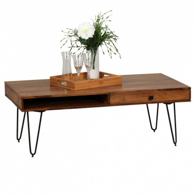 Table basse en bois marron contemporain en bois massif L. 120 x P. 60 x H. 40 cm collection Oving