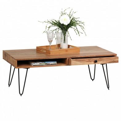 Table basse en bois marron contemporain en bois massif L. 120 x P. 60 x H. 40 cm collection Army