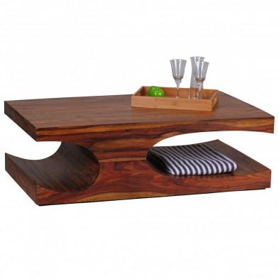 Table basse en bois marron contemporain en bois massif L. 118 x P. 70 x H. 38 cm collection Oving