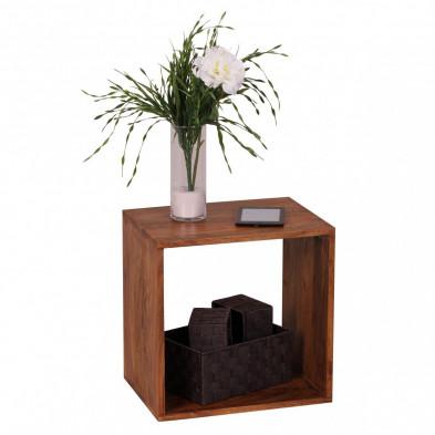 Table d'appoint marron contemporain en bois massif L. 44 x P. 44 x H. 44 cm collection Oving