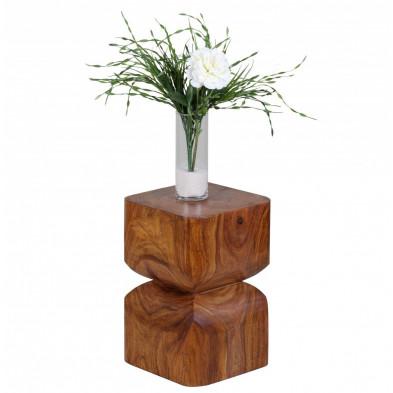 Table d'appoint marron contemporain en bois massif L. 30 x P. 30 x H. 45 cm collection Oving