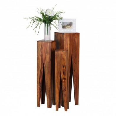Lot de 3 Table d'appoint marron contemporain en bois massif L. 25 x P. 25 x H. 100 cm collection Oving