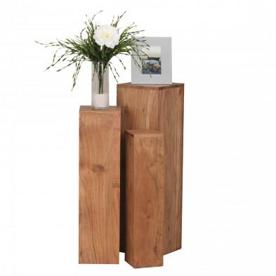 Lot de 3 Table d'appoint marron contemporain en bois massif L. 25 x P. 25 x H. 85 cm collection Army