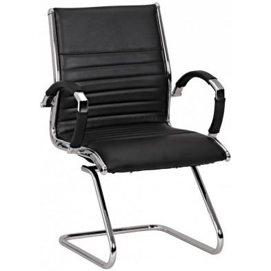 Chaise et fauteuil de bureau noir design en cuir véritable L. 62 x P. 54 x H. 94 cm collection Boorsem