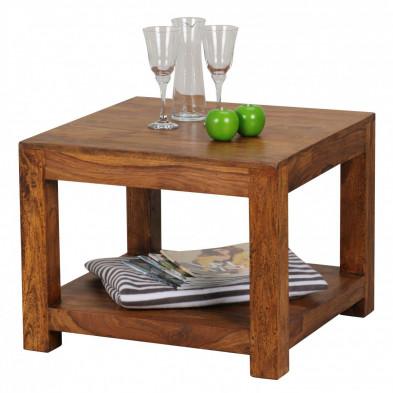 Table basse en bois marron contemporain en bois massif L. 60 x P. 60 x H. 45 cm collection Oving