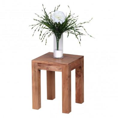 Table d'appoint marron contemporain en bois massif L. 35 x P. 35 x H. 45 cm collection Army