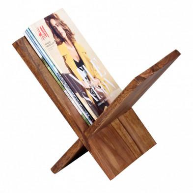 Porte-revues marron contemporain en bois massif L. 29 x P. 28 x H. 31 cm collection Oving