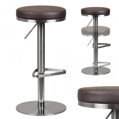 Tabouret de bar marron design en  L. 39 x P. 39 x H. 57 - 82 cm collection Known