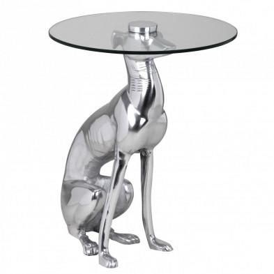 Table d'appoint argenté design en aluminium L. 40 x P. 40 x H. 50 cm collection Queby