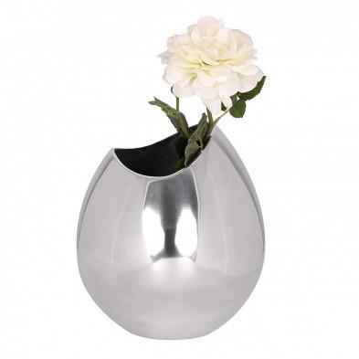 Vase argenté design en aluminium L. 20 x P. 20 x H. 25 cm collection Mason