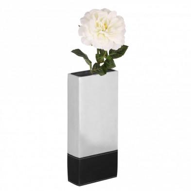 Vase argenté design en aluminium L. 13 x P. 6 x H. 31 cm collection Unique