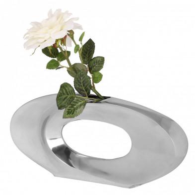 Vase moderne en aluminium forme cercle 38 cm coloris argent L. 38 x P. 5 x H. 18 cm collection C-Deshi