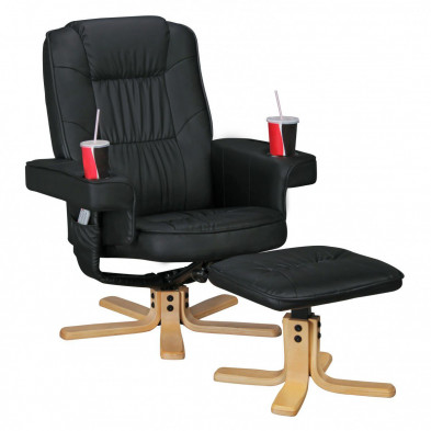 Fauteuil relax noir design en PVC 1 place  L. 80 x P. 80 - 102 x H. 92 - 102 cm collection Baunatal