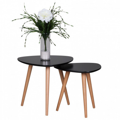 Lot de 2 Table d'appoint noir scandinave en bois massif hêtre L. 48 x P. 48 x H. 43 cm collection Appeln