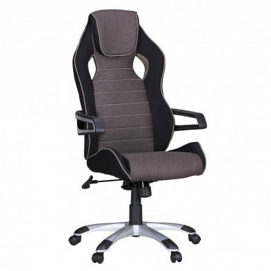 Chaise et fauteuil de bureau noir design en tissu L. 53 x P. 53 x H. 120 - 130 cm collection Robinson