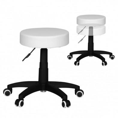 Pouf et tabouret blanc design en plastique 1 place 50 cm de largeur L. 50 x P. 50 x H. 44 - 55 cm collection Havin