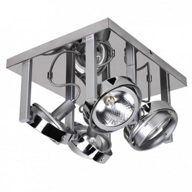 Plafonnier argenté design en acier L. 36 x P. 31 x H. 18 cm collection Jemelle