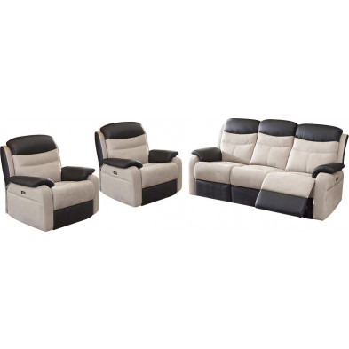 Ensemble canapés beige contemporain en microfibre 5 places collection Confine